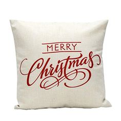 Pillow CaseLeegor Christmas Essentials Vintage Letter Sofa Bed Home Decoration Festival Home Decor Design Throw Pillow Case linen Cushion Cover white *** For more information, visit image link.