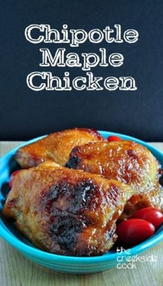 A fast and easy, sweet and spicy, juicy and delicious meal: Chipotle Maple Chicken on The Creekside Cook | #chicken #chipotle