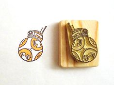 BB-8 from Star Wars 7 - Hand carved rubber stamp set