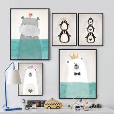 Animales de dibujos animados Art cartel de la pintura, cuadro de la pared para la decoración del hogar, decoración de la pared FA400