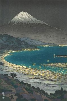 The view of Mt.Fuji from Nihondaira (Night View) - Okada Koichi ,1958 Japanese,b.1907- Colored Woodbloc, 14 ¼ x 9 ½ in.