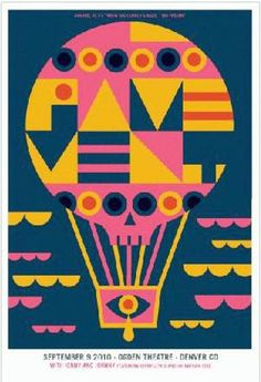 Original concert poster for Pavement at the Ogden Theatre in  Denver, CO in 2010. 16.5 x 24 inches. 3 color screen print. Art by Dan Stiles. Signed and numbered by the artist.