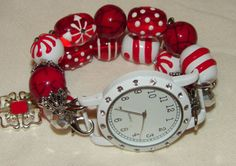 Christmas Beaded Watch Band Red and White Peppermint by BeadsnTime, $30.00