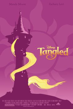 Tangled Movie Poster by Michelle Yao, via Behance - nice example of an illustrated and minimalist poster. You don't even need the official Tangled logo.
