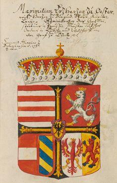 Coat of arms of Maximilian III, Archduke of Austria, Grandmaster of the Teutonic Order (1558-1618). Großes Wappenbuch, enthaltend die Wappen der deutschen Kaiser, der europäischen Königs- und Fürstenhäuser, der Päpste und Kardinäle, Süddeutschland 1583