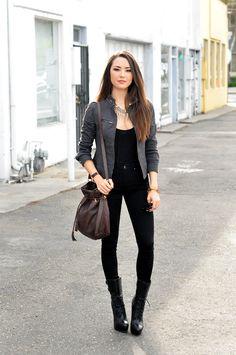 Express Twill Moto Jacket + Black Tank + black skinnies + Black boots worn by Hapa Time