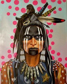 Bone Necklace by Riel Benn(award winning artist from the Birdtail Sioux First Nation,Southwestern Manitoba)kK Native American Makeup, Apache Native American, Native American Face Paint, Apache Indian, Native American Warrior, Native American Paintings, Native American Pictures, Native American Artists, American Indian Art