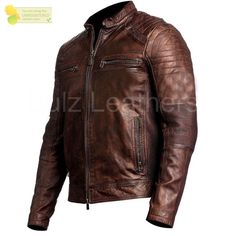 Mens Brown Cafe Racer Vintage Motorcycle Waxed Distressed Genuine Leather Jacket