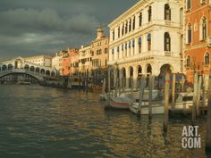 Sunset View of Storm Clouds and Boats on the Grand Canal, Venice, Italy Photographic Print by Janis Miglavs at Art.com