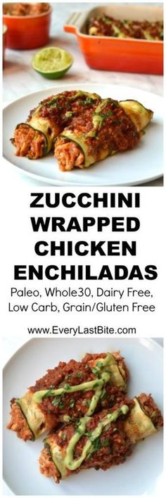Zucchini Wrapped Chicken Enchiladas, Food And Drinks, A healthy and low carb alternative to traditional enchiladas. Delicious saucy shredded chicken wrapped in zucchini strips (Paleo, Gluten Free. Paleo Recipes, Mexican Food Recipes, Low Carb Recipes, Cooking Recipes, Mexican Dishes, Paleo Ideas, Quick Recipes, Paleo Whole 30, Whole 30 Recipes
