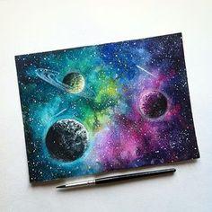 Beautiful Starry Sky Painting - Acrylic Painting Ideas - Painting Tutorials V. Galaxy Painting Acrylic, Watercolor Galaxy, Watercolour Painting, Body Painting, Chalk Painting, Galaxy Drawings, Abstract Drawings, Art Drawings, Pastel Drawing