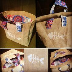 emicreations vuelve a la carga con una bolsa de playa con tela de saco forro de mandalas y con raspa de pez  estampada