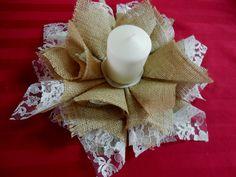 Burlap candle holder rustic candle holder by DaniellesCorner