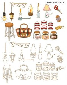 Hand-painted household goods icon vector material