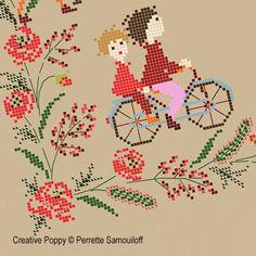 Bannière aux coquelicots, grille de broderie, création Perrette Samouiloff