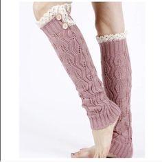 3FOR$20Crochet leg warmers w/crochet lace trim ♨️NO FURTHER DISCOUNTS♨️ These NWT Boho Leg Warmers feature crochet lace trim and faux button detail. Color is Mauve w/ cream trim. #5TS Accessories