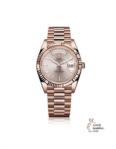 84263260e3d The new Rolex Day-Date 40 in 18 ct Everose gold with a Sundust dial with  stripe motif and a President bracelet. This new model features an updated  design ...