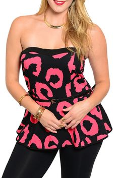 DHStyles Women's Black Pink Plus Size Sexy Animal Print Strapless Knit Top with Belt - 1X #sexytops #clubclothes #sexydresses #fashionablesexydress #sexyshirts #sexyclothes #cocktaildresses #clubwear #cheapsexydresses #clubdresses #cheaptops #partytops #partydress #haltertops #cocktaildresses #partydresses #minidress #nightclubclothes #hotfashion #juniorsclothing #cocktaildress #glamclothing #sexytop #womensclothes #clubbingclothes #juniorsclothes #juniorclothes #trendyclothing #minidresses…