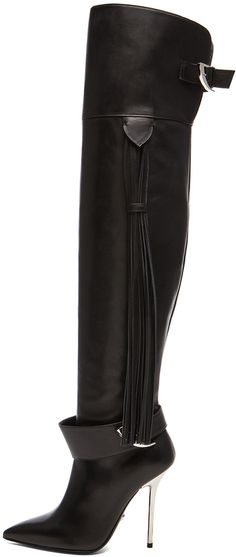 VERSACE Fringe Thigh High Leather Boots in Black