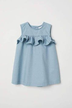 Flounced Cotton Dress - Baby Girl Dress - Ideas of Baby Girl Dress - Flounced Cotton Dress Light turquoise Kids Baby Girl Dress Patterns, Baby Dress Design, Dresses Kids Girl, Baby Dresses, Dress Girl, Children Dress, Peasant Dresses, Baby Clothes Patterns, Dresses Dresses