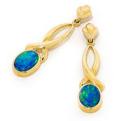 This eye-catching attractive Light Opal Doublet Earrings is a fine addition to a jewellery collection. Set in 14k Yellow Gold, this lovely piece of jewellery is made with a pair of high quality genuine Light Opal Doublets that are in the classic oval shapes, sourced from quality opal mines in Coober Pedy and surrounding areas of South Australia.Light up your look with this elegant jewellery.  #opalsaustralia