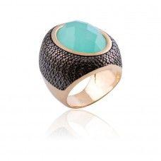 Anel Oval Quartzo Verde Água - anel semi joia em quartzo verde água facetado - Exclusividade Dezeus Joais