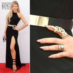 The Best Manis from the 2014 AMAs: FERGIE - Sticking to her trademark stiletto shape, Fergie lacquered up in a nude polish, then added a few swipes of black polish at her tips to give off the illusion of a more pointed nail #InStyle