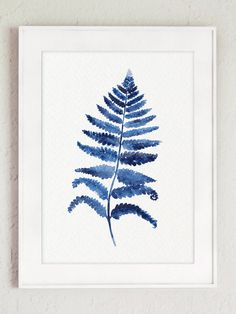 Fern Art Print Indigo Home Decor Botanical by ColorWatercolor