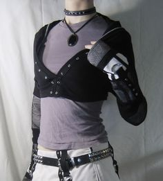 goth/punk DIY cropped hoodie with fishnet details... - CLOTHING