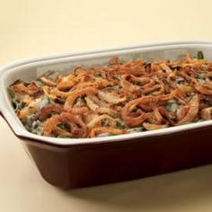 Healthy Thanksgiving Recipes, Green Bean Casserole without the canned soup & all the fat & sodium that goes with it!  Use sliced mushrooms, sweet onions and low-fat milk