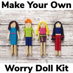 Craft Kits For Kids, Diy Crafts For Kids, Easy Crafts, Doll Crafts, Diy Doll, Stocking Stuffers For Kids, Worry Dolls, Clothespin Dolls, Clothespin Crafts