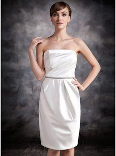 Sheath/Column Strapless Knee-Length Satin Bridesmaid Dress With Ruffle Beading