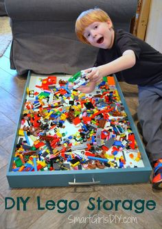 I am LOVING this Easy DIY Tutorial! Build your own DIY Lego storage drawer that neatly slides under the couch. This is a great storage solution for those super small legos -- and would work for any other toys or small items to keep the clutter down!