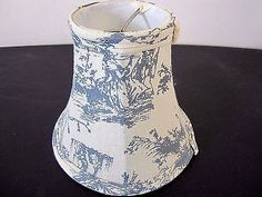 Toile Lampshade Candlestick Lamp Blue Linen French Country 3
