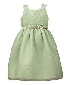 Mint Lace Beaded Sleeveless Dress - Toddler & Girls #zulily #zulilyfinds