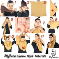 How to wear MyBatua Square Hijab Tutorials  http://www.mybatua.com