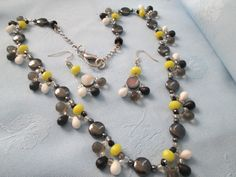 Hand Made necklace & Earrings - Yellow  Black White - String made - Drop + Round beads-Wire back earrings by LsFindsandCreations on Etsy