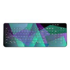 Shop Abstract Purple & Green Wireless Keyboard created by BlueRose_Design. Mice, Keyboard, Your Design, Plugs, Vibrant Colors, Abstract, Purple, Green, Prints