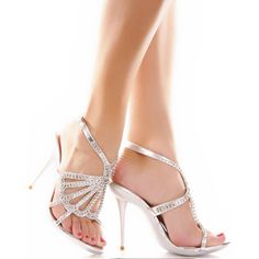 Silver High Heels Bridal Wedding Evening Prom Stilettos Platform Shoes SKU-1090066