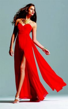 Sweet Chiffon Strapless Sweetheart Neckline with Aline Slirt Floor Length 2012 Fashion Red Celebrity Dress On Sale