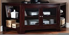 Namir collection corner unit espresso finish wood TV stand entertainment center with rippled glass front storage cabinet