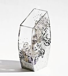 Center Piece Vase Candle Holder Hand Painted by NevenaArtGlass, $69.80