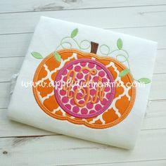 Monogram Pumpkin Applique Design
