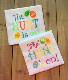 Easter outfit embroidered onesie or t shirt easter gifts easter the hunt is on embroidered onesie or by stitchinjewel negle Choice Image