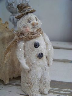 paper mache snowman | Sculpted Paper Mache Folk Art Winter Wonderland Snowman