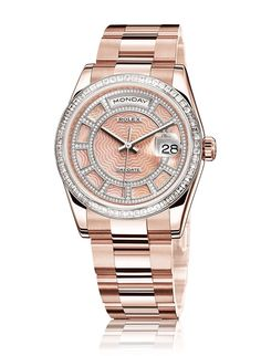 Rolex Day-Date studded rose gold Watch