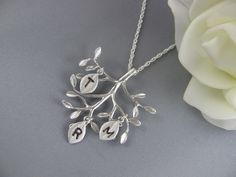 Monogram Necklace . Personalized Family tree with Hand stamped initials . Personalized jewelery .. $32.80, via Etsy.