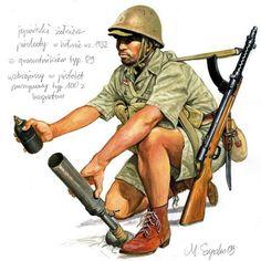 Japoński żołnierz piechoty w hełmie wz. 1932, uzbrojony w pistolet maszynowy typ 100 z bagnetem oraz granatnik typ 89, pin by Paolo Marzioli