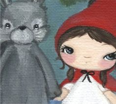 Little Red Riding Hood Print Wolf Forest Fairy por thepoppytree