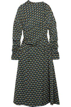 Marni - Gathered Printed Silk-crepe Midi Dress - Blue - IT36